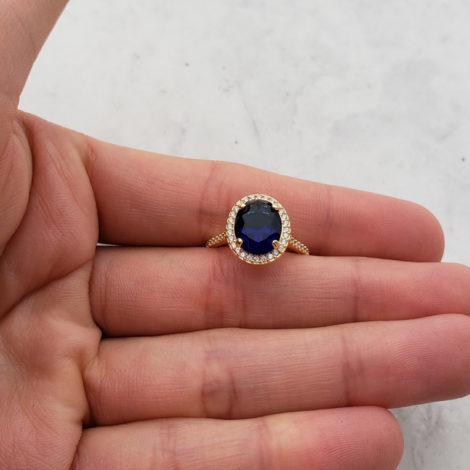 anel solitario cristal azul escuro com zirconias brancas bruna semijoias brilho folheados