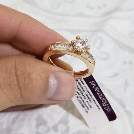 anel solitario zirconia carre rommanel brilho folheados 1