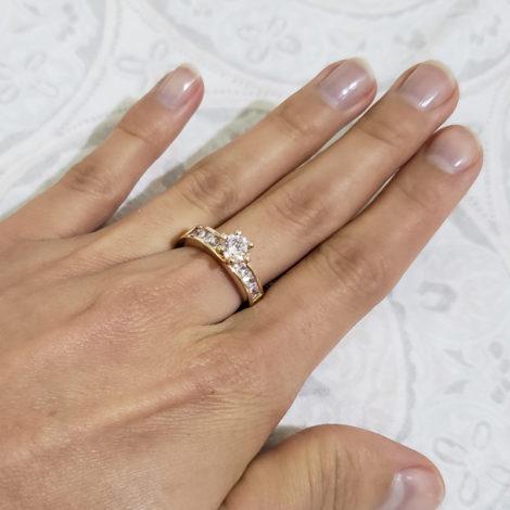 anel solitario zirconia carre rommanel brilho folheados