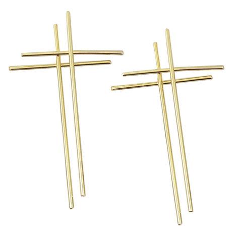 brinco cruz dupla palito estilizada folheada ouro dourado 18k loja brilho folheados