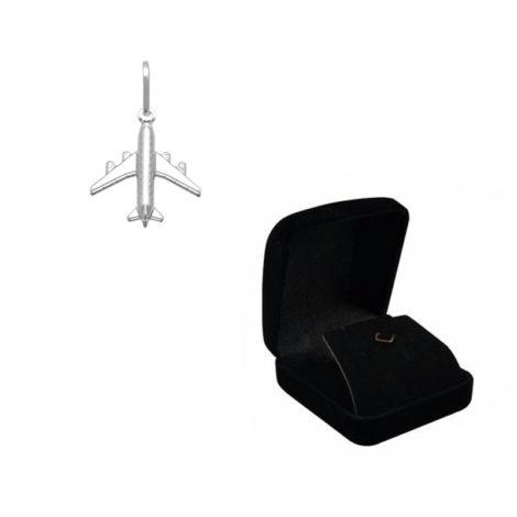 pingente aviao em prata brilho folheados com case porta joia em veludo preto