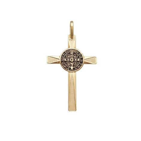 pingente cruz de sao bento folheado ouro 18k brilho folheados