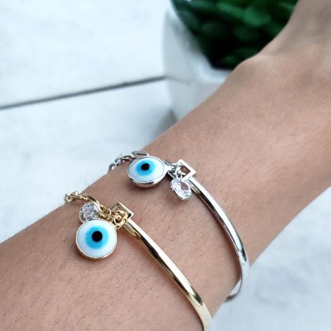pulseira bracelete mista olho grego ponto de luz strass joia folheada ouro 18k brilho folheados