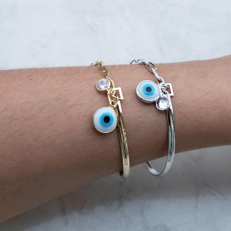 pulseira bracelete mista olho grego ponto de luz strass joia folheada ouro 18k brilho folheados foto modelo