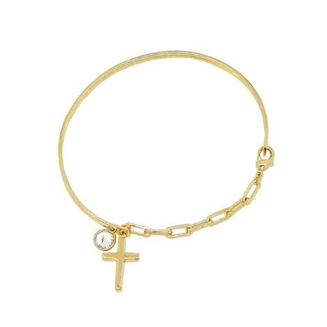 pulseira bracelete pingente cruz com strass p pulso pequeno folheado ouro 18k brilho folheados