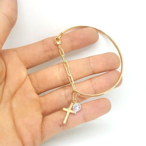 pulseira bracelete pingente cruz com strass p pulso pequeno folheado ouro brilho folheados