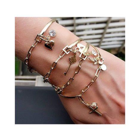 pulseira bracelete pingente olho grego e ponto luz prateado D NQ NP 894142 MLB28251954260 092018 F