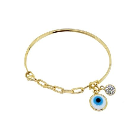 Pulseira bracelete com olho grego e strass