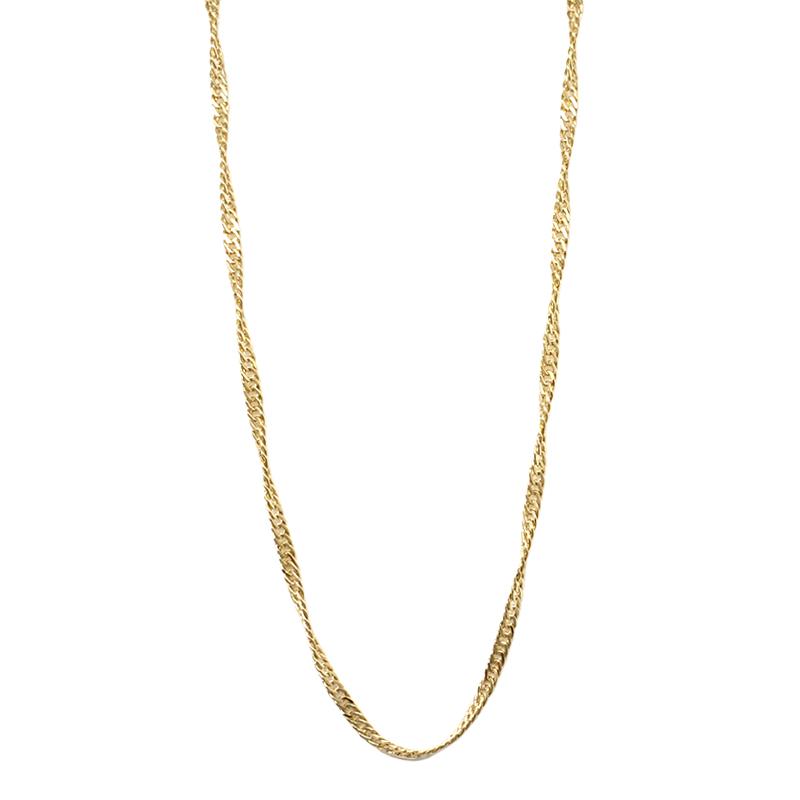 Corrente singapura 45 cm espessura média folheada a ouro dourado 18k d797ae66c0