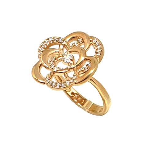 1910438 anel flor begonina em ouro rose com zirconias brancas brilhantes joia antialergica marca sabrina joias loja brilho folheados