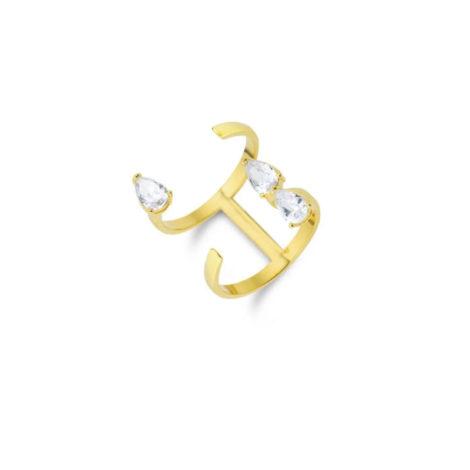 1910506 maxi anel ajustavel gotas de zirconias folheado ouro 18k marca sabrina joias loja brilho folheados 1