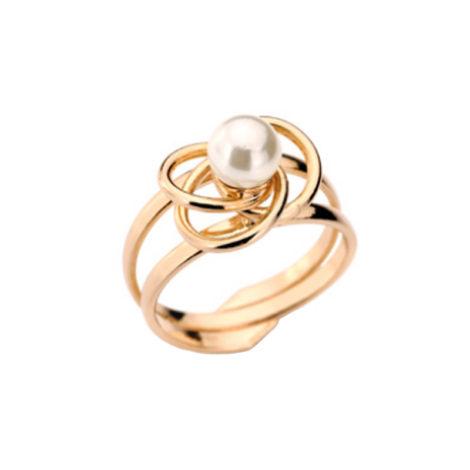 511156 anel arol duplo vazado com triplo circulo de metal no centro e perola joia rommanel loja brilho folheados