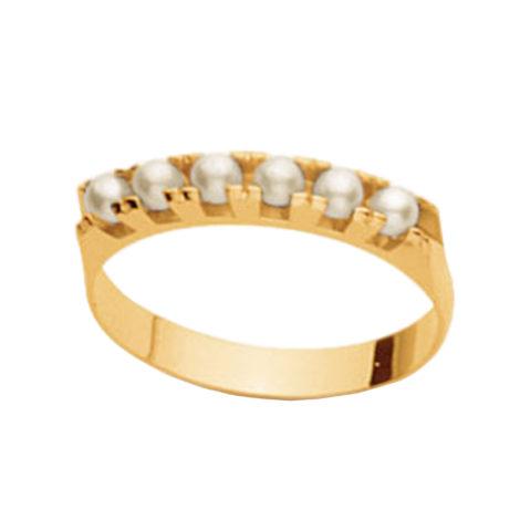 511457 anel meia alianca com 6 perola na parte superior joia folheada ouro dourado 18k marca rommanel loja brilho folheados