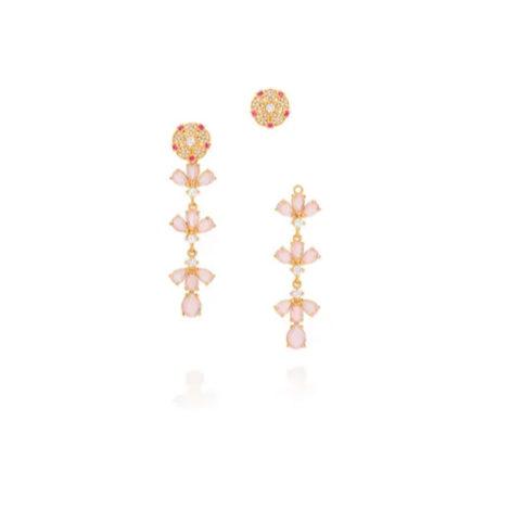 Brinco dama da noite cristais rosa 2 em 1