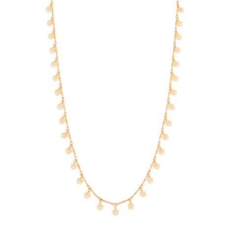 531941 colar Gargantilha longo formada por fio palito trabalhado intercalados com rosas flores joia rommanel marca brilho folheados
