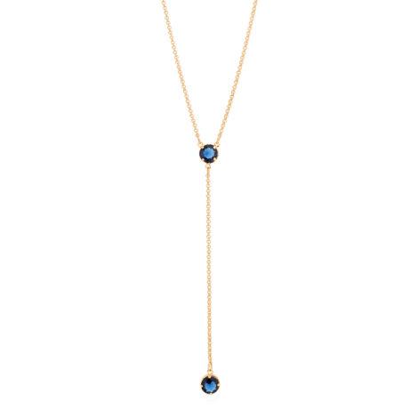 Gargantilha gravatinha 2 cristais azul
