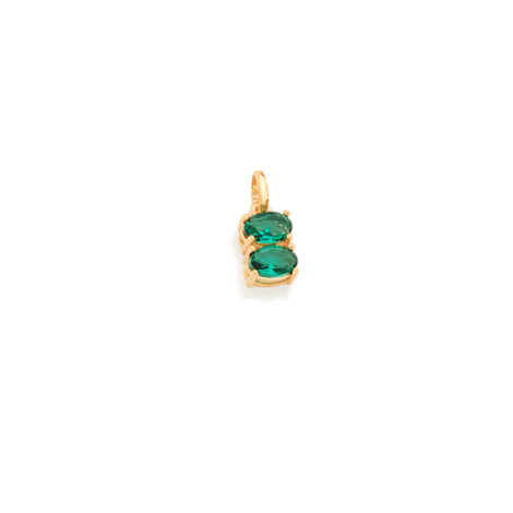 Pingente delicado 2 cristais ovais verde turmalina