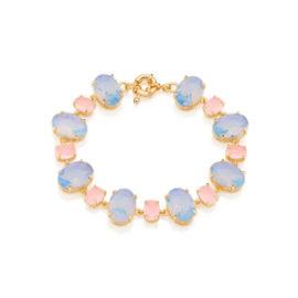 Pulseira poder cristais azul e rosa claro 18 cm