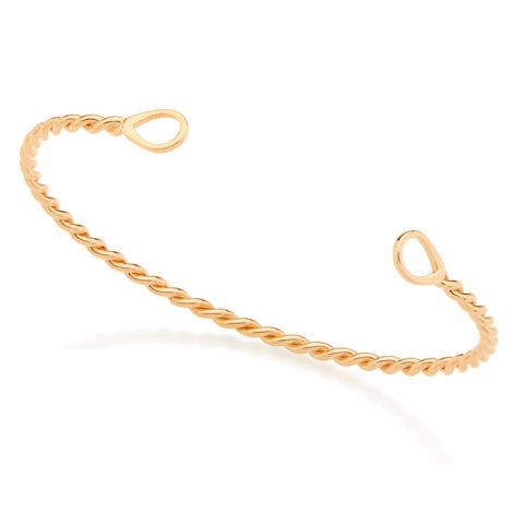 Bracelete aberto aro em formato de corda