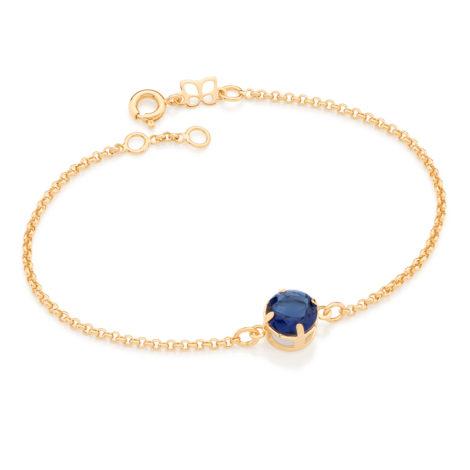 551595 Pulseira formada elo portugues contendo 1 cristal redondo azul marca rommanel loja brilho folheados 1