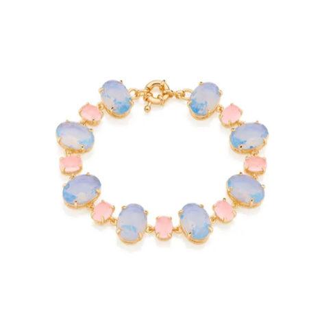 551601 PULSEIRA PODER FOLHEADA A OURO COM CRISTAIS rosa azul TAMANHO 19CM marca rommanel loja brilho folheados
