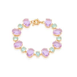 Pulseira poder cristais lilás e azul claro 19 cm