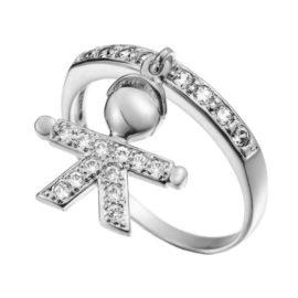 R1910064 anel feminino com pingente de filho aro superior com zirconias brancas joia folheada rodio prateada sabrina joias brilho folheados