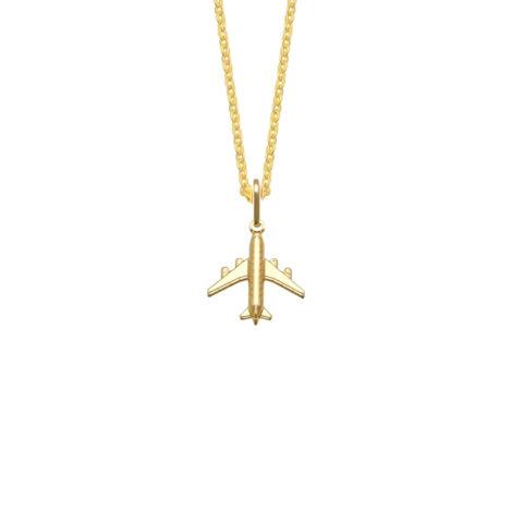 colar feminino aeromoça com corrente veneziana fina e pingente aviao joia folheada ouro 18k brilho folheados