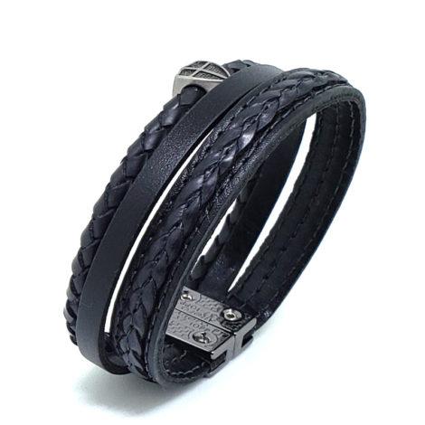 pulseira masculina de couro tripla com pingente cruz portuguesa fecho ima marca izolo loja brilho folheados foto da pulseira vista de cima