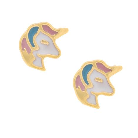 525928 brinco infantil unicornio resina colorida joia rommanel loja revendedora brilho folheados 1