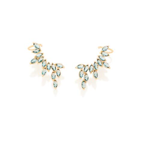 Brinco ear cuff 26 cristais azul london