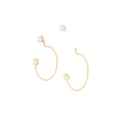 526232 Brinco ear jacket formado por base de zirconia gota composto por meia argola com zirconia gota na parte final marca rommanel loja brilho folheados