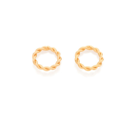526234 Brinco formado por aro entrelacado no formato corda folheado ouro 18k marca rommanel loja brilho folheados