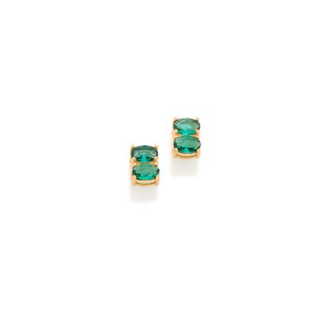 Brinco delicado cristais verde turmalina