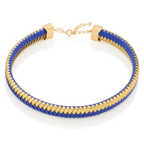 Choker couro sintético azul e dourado