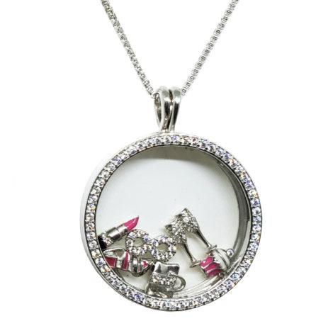 colar capsula de vidro pingnetes de dentro com tema coisas de mulher joia folheada rodio marca sabrina joias loja brilho folheados