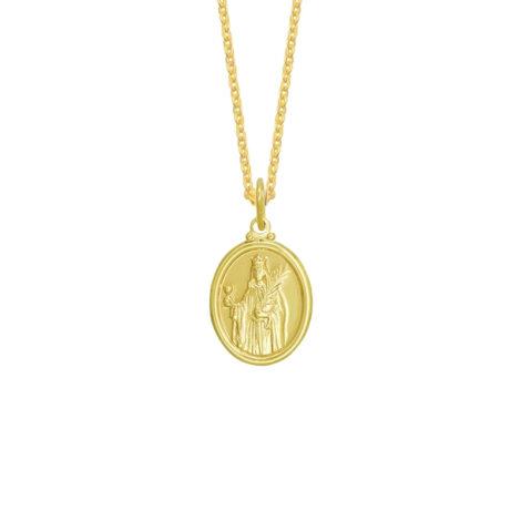 colar feminino com medalha oval de santa barbara folheada ouro 18k loja brilho folheados