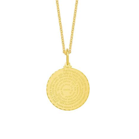 colar feminino medalha oracao pai nosso folheado ouro 18k loja brilho folheados