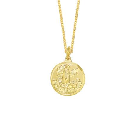colar medalha imagem de nossa senhora de fatima folheado a ouro 18k loja brilho folheados