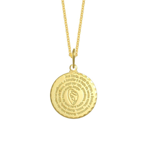 colar medalha oracao de ave maria com imagem corrente de elos folheada a ouro 18k loja brilho folheados