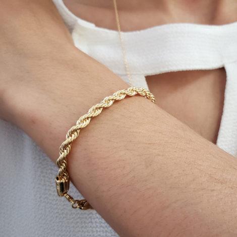 168E16 pulseira feminina trancada grossa joia folheada a ouro brilho folheados sabrina joia foto modelo 1