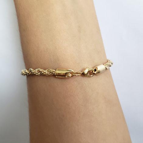 168E16 pulseira feminina trancada grossa joia folheada a ouro brilho folheados sabrina joia foto modelo