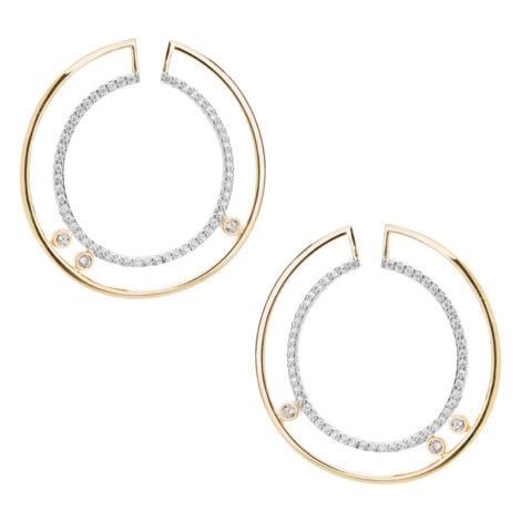 1690170 brinco circunferencia dupla vazada media cravejada com zirconias joia folheada ouro sabrina joias loja brilho folheados