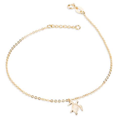 1700434 tornozeleira elos com pingente formato tartaruga com 10 micro zirconias folheado ouro marca sabrina joias loja brilho folheados