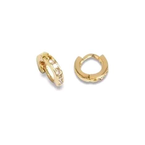 523214 brinco mini argola com 10 mini zirconias argola bipartida joia folheada ouro marca rommanel loja brilho folheados