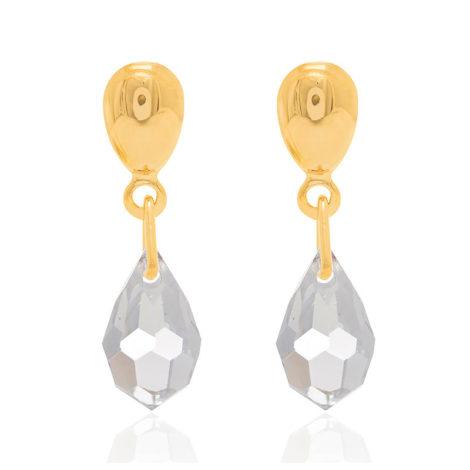523950 brinco pequeno marca rommanel base lisa com gota de cristal pendurada joia da marca rommanel loja brilho folheados 1