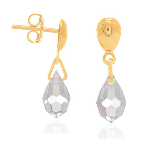 523950 brinco pequeno marca rommanel base lisa com gota de cristal pendurada joia da marca rommanel loja brilho folheados