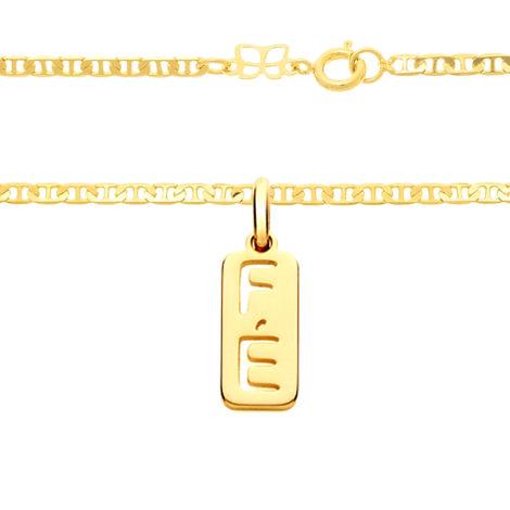 530614 541931 cordao masculino diamantado elos com pino e pingente retangular com a palavra fe joia folheada ouro marca rommanel loja brilho folheados