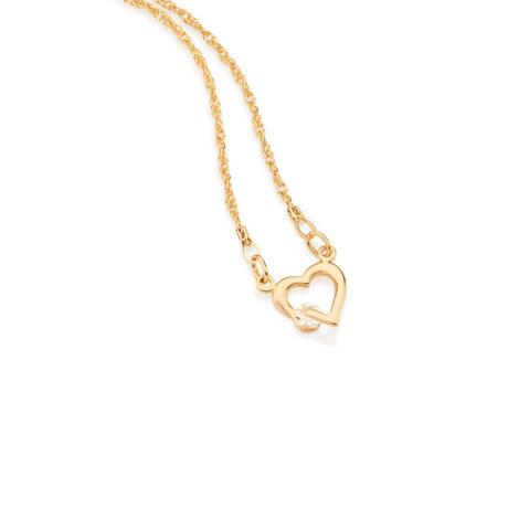 531182 Gargantilha formada por fio cingapura composta por coracao vazado com cristal de 4mm na lateral mede 50 cm folheado ouro marca rommanel loja brilho folheados