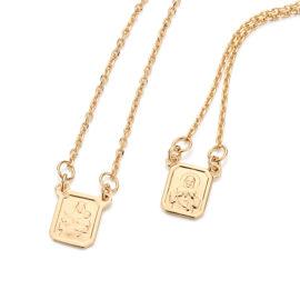 531222 escapulario corrente elos com medalha do coracao de jesus e medalha de nossa senhora do carmo joia folheada ouro marca rommanel loja brilho folheados